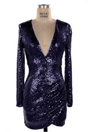 :As Seen In PEOPLE STYLEWATCH Magazine: Sequin Long Sleeve Low Cut V-Neck Mini Dress-Navy Blue