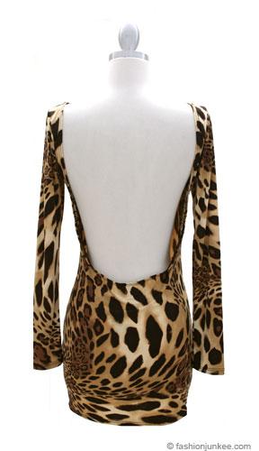 91cffbabd3 the SEXY BACK Dress - Boat Neck Long Sleeve Backless Mini-Leopard Print