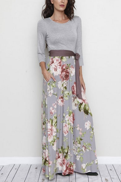 PLUS SIZE Long Sleeve Solid & Floral Maxi Dress with Sash and Pockets-Grey
