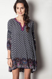 Split Neck Bohemian Printed 3/4 Sleeve Peasant Tunic Dress Dress-Navy Blue & Pink