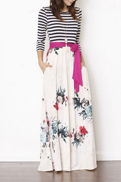 Plus Size Long Sleeve Striped Floral Maxi Dress With Sash And