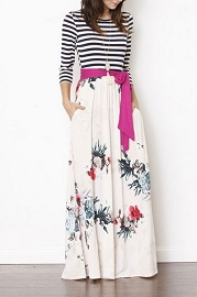 PLUS SIZE Long Sleeve Striped Floral Maxi Dress with Sash and Pockets-Ivory & Magenta