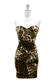 Sweetheart Shaped Strapless Short Mini Evening Dress-Leopard Print