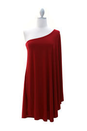 One Shoulder DRESS with Winged Kimono Slit Sleeves-Red