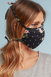 Adjustable Cotton Washable Face Mask Reusable Cloth Face Covering with Filter Pocket-Black Floral Print Polka Dot