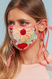 Adjustable Cotton Washable Face Mask Reusable Cloth Face Covering with Filter Pocket-Pink Floral Print