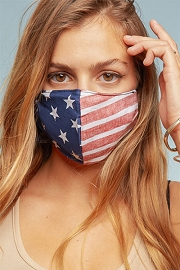 Cotton Washable Face Mask Reusable Cloth Face Covering with Slot for Filter-USA American Flag