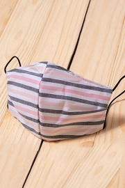 Cotton Washable Face Mask Reusable Cloth Face Covering with Slot for Filter-Pink White & Grey Striped