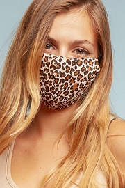 Cotton Washable Face Mask Reusable Cloth Face Covering with Slot for Filter-Leopard Print