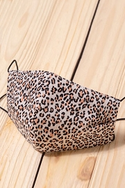 Cotton Washable Face Mask Reusable Cloth Face Covering with Slot for Filter-Cheetah Print