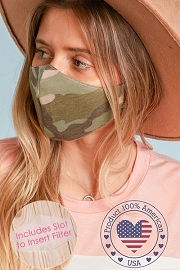 Stretch Cotton Washable Face Mask Reusable Cloth Face Covering with Filter Pocket-Camouflage Camo Print