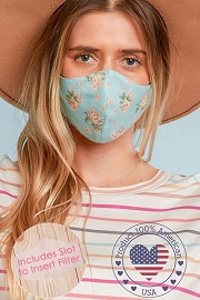 Stretch Cotton Washable Face Mask Reusable Cloth Face Covering with Filter Pocket-Mint Floral Print