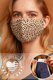 Stretch Cotton Washable Face Mask Reusable Cloth Face Covering with Filter Pocket-Cheetah Print