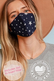 Stretch Cotton Washable Face Mask Reusable Cloth Face Covering with Filter Pocket-Navy Blue Stars