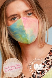 Stretch Cotton Washable Face Mask Reusable Cloth Face Covering with Filter Pocket-Pink Tie Dye