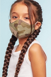 Kids Stretch Cotton Washable Face Mask Reusable Cloth Face Covering with Filter Slot-Camoflauge Camo Print
