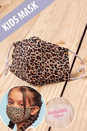 Kids Cotton Washable Face Mask Reusable Cloth Face Covering with Slot for Filter-Cheetah Print