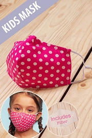 Kids Cotton Washable Face Mask Reusable Cloth Face Covering with Slot for Filter-Pink Polka Dot