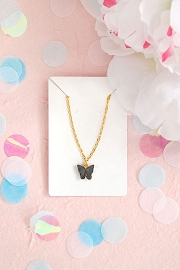 Granola + Barley Butterfly Necklace-Black