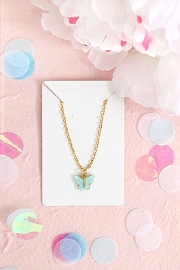 Granola + Barley Butterfly Necklace-Blue