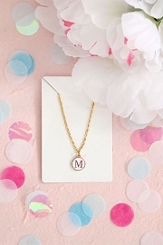 Granola + Barley Initial Letter Necklace-Pink