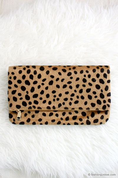 new design best selection of select for latest Foldover Cheetah Leopard Animal Print Faux Fur Clutch-Leopard Print