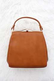 :As Seen In PEOPLE STYLEWATCH Magazine: Classic Top Handle Purse-Camel Brown