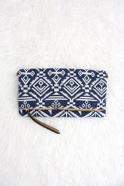 Woven Foldover Tribal Print Clutch-Blue & White