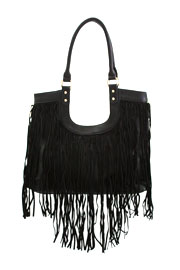 Boho U Shape Fringe Faux Suede Purse with Messenger Strap-Black