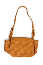 Woven Flapover Purse-Camel Brown