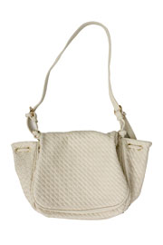 Woven Flapover Purse-Off White