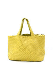 Slouchy Oversized Large Woven Tote Handbag-Yellow