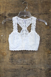 Lace Racer Back Bralette-White
