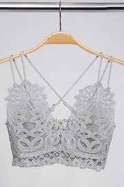 Double Strap Lace Bralette-Grey