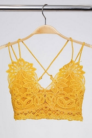 Double Strap Lace Bralette-Mustard Yellow