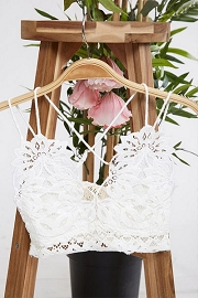 Double Strap Lace Bralette-White