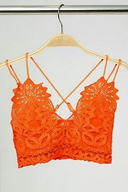 Double Strap Lace Bralette-Orange