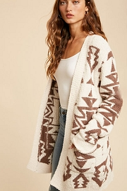 Aztec Tribal Print Soft Cardigan-Cream Off White
