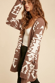 Aztec Tribal Print Soft Cardigan-Taupe