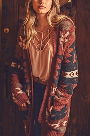 Aztec Tribal Print Soft Cardigan-Brick