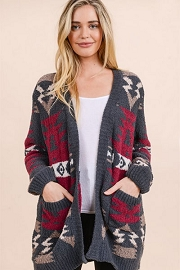Aztec Tribal Print Soft Cardigan-Charcoal Grey