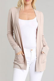 Knit Open Front Sweater Basic Cardigan with Pockets-Taupe
