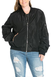 PLUS SIZE Long Sleeve Solid Bomber Jacket-Black