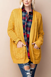 Cable Knit Long Sleeve Open Front Cardigan Sweater with Pockets-Mustard Yellow