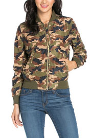 :As Seen In US WEEKLY: Camouflage Bomber Jacket-Olive Green