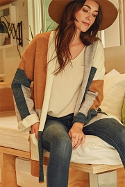 Open Front Color Block Cardigan with Pockets-Teal & Brown