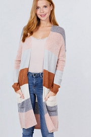 Soft Color Block Cardigan with Pockets-Pink Grey and Camel