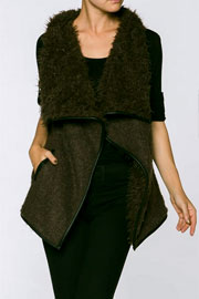 Draped Sleeveless Faux Fur Wool Vest with Leather Trim-Olive Green