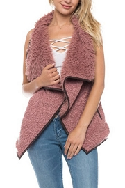 Draped Sleeveless Faux Fur Wool Vest with Leather Trim-Mauve Pink