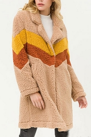 Soft Sherpa Teddy Bear Chevron Jacket Coat-Camel Beige